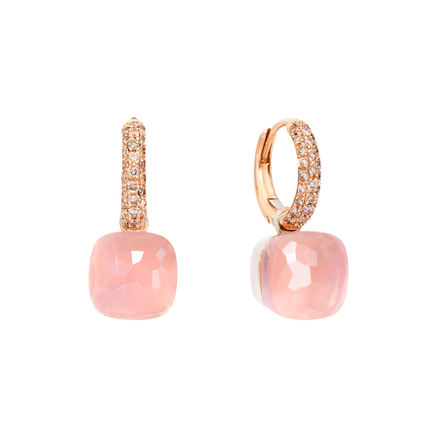 "Rose Quartz & Brown Diamond ""Nudo"" Drop Earrings"