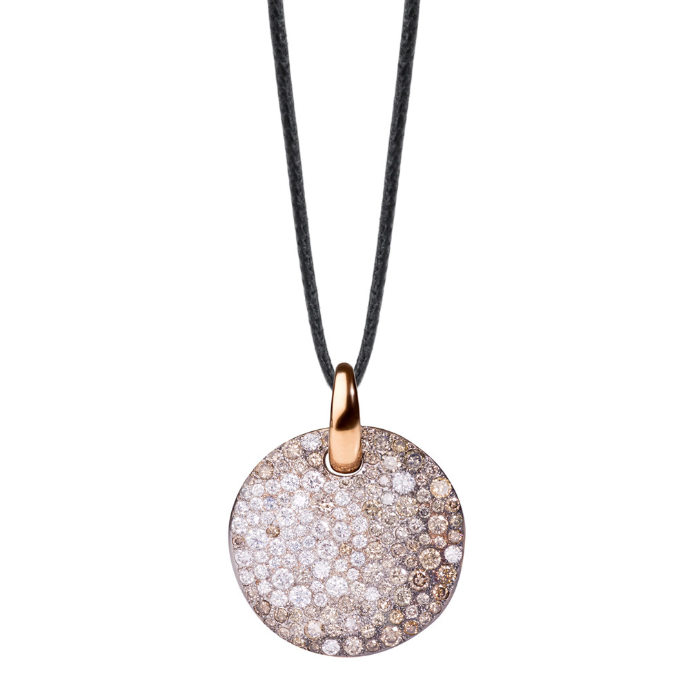 "Brown & White Diamond ""Sabbia"" Disc Pendant"