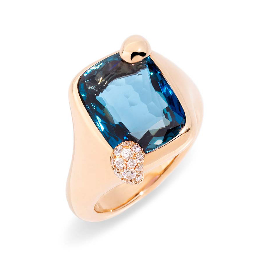"Small London Blue Topaz ""Ritratto"" Ring"
