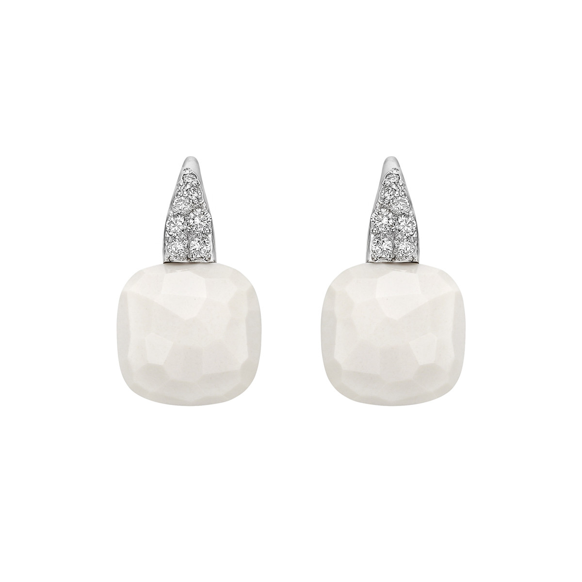 "White Andularia & Diamond ""Capri"" Drop Earrings"