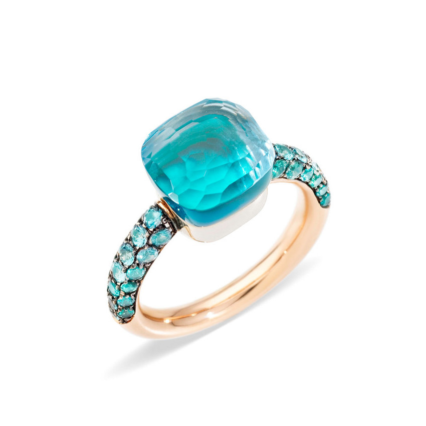 "Blue Topaz & Agate Nudo ""Deep Blue"" Ring"