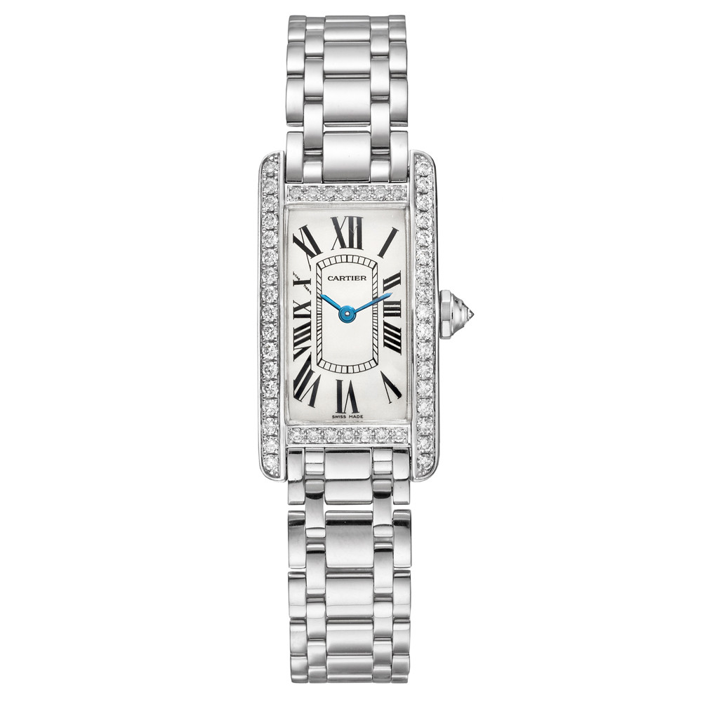 Pre Owned Cartier Tank Am 233 Ricaine Small White Gold