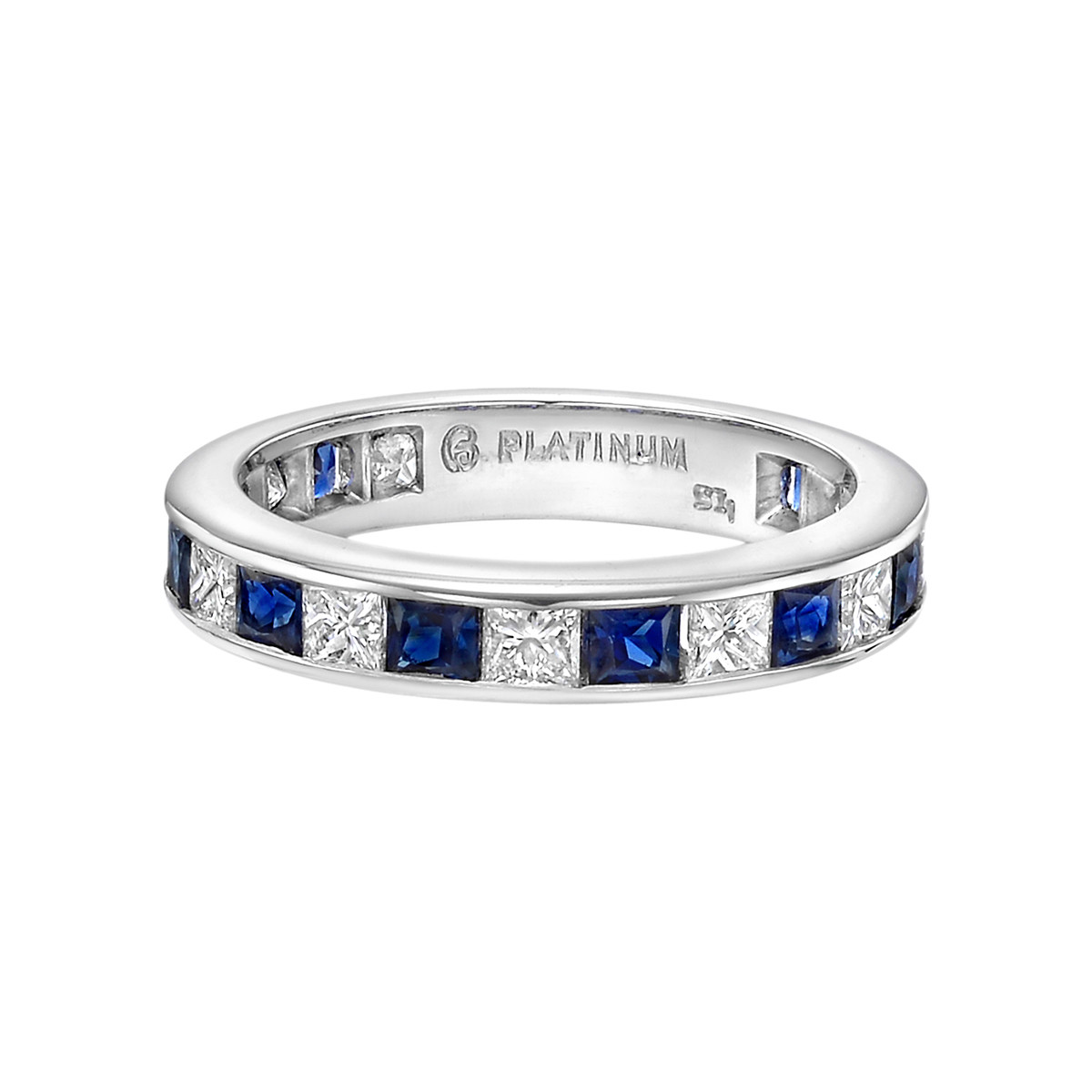 Channel-Set Sapphire & Diamond Eternity Band