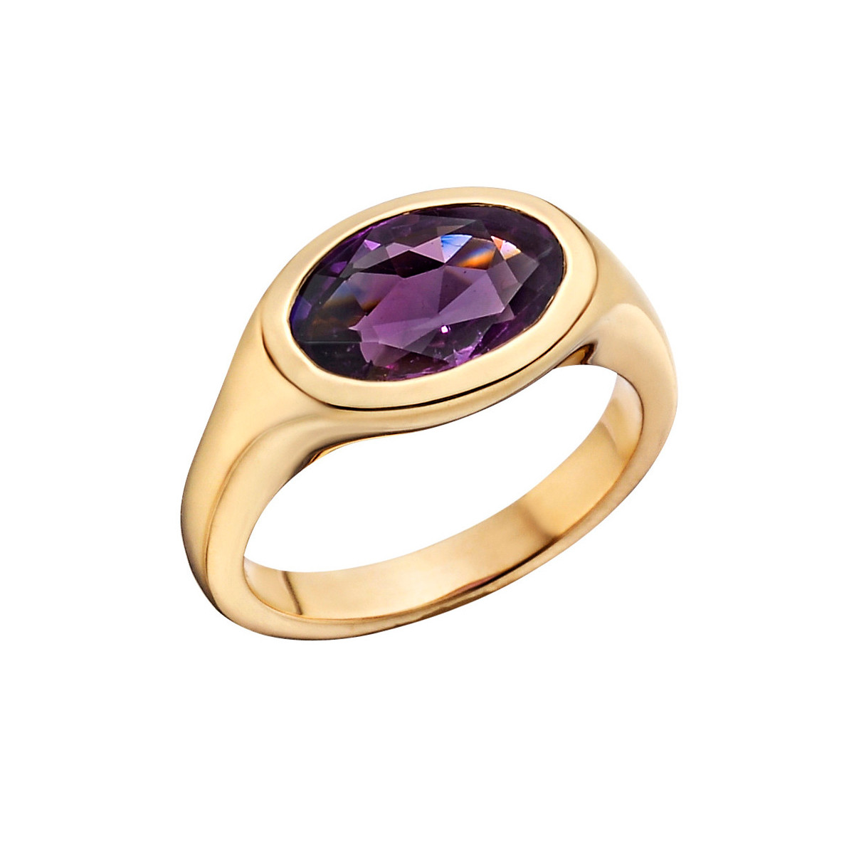 18k Pink Gold & Purple Sapphire Gypsy Ring
