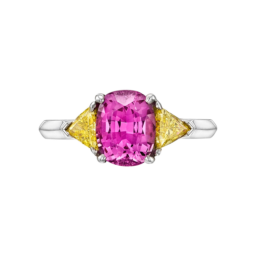 2.46 Carat Purplish Pink Sapphire & Yellow Diamond Ring