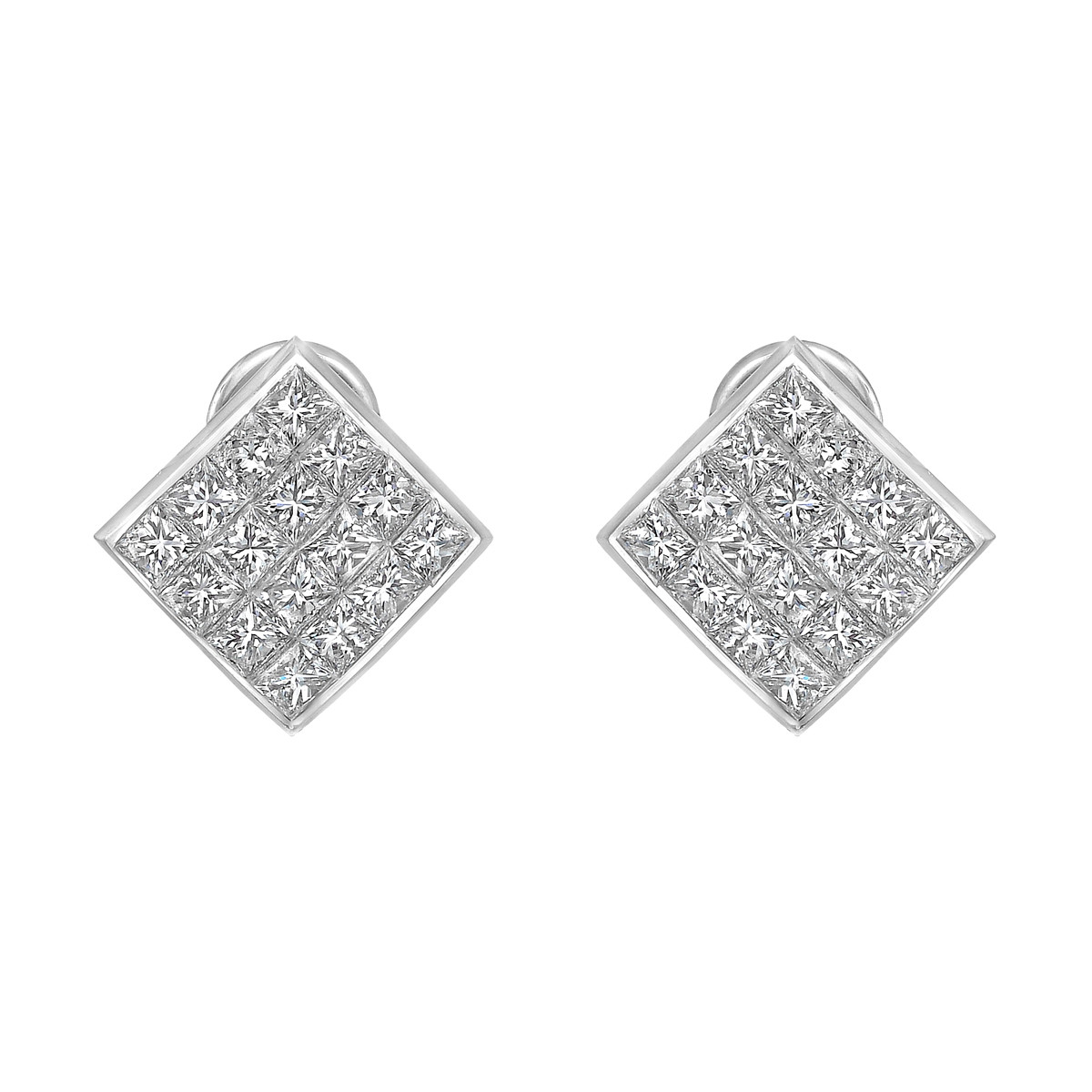 Platinum & Quadrillion-Cut Diamond Square Earrings