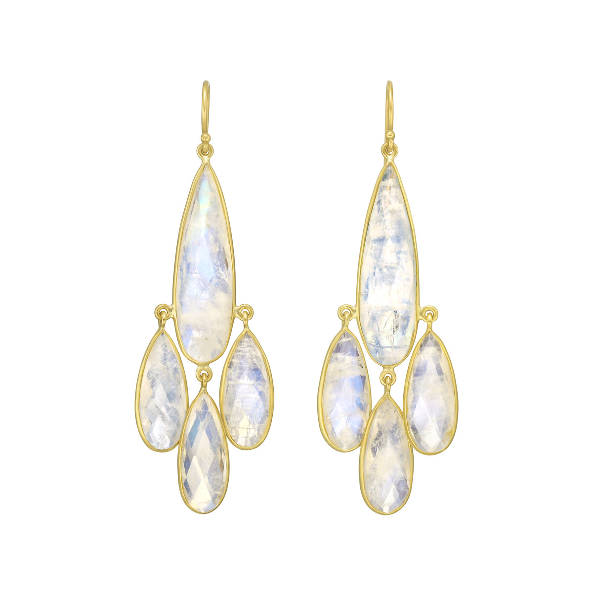 Rainbow Moonstone Chandelier Earrings