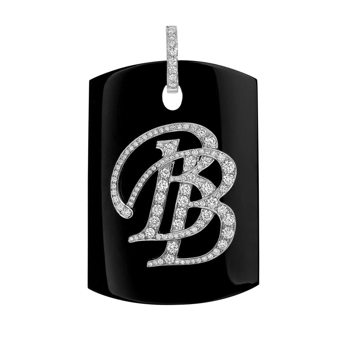 "Bakelite & Diamond ""BB"" Monogram Pendant"