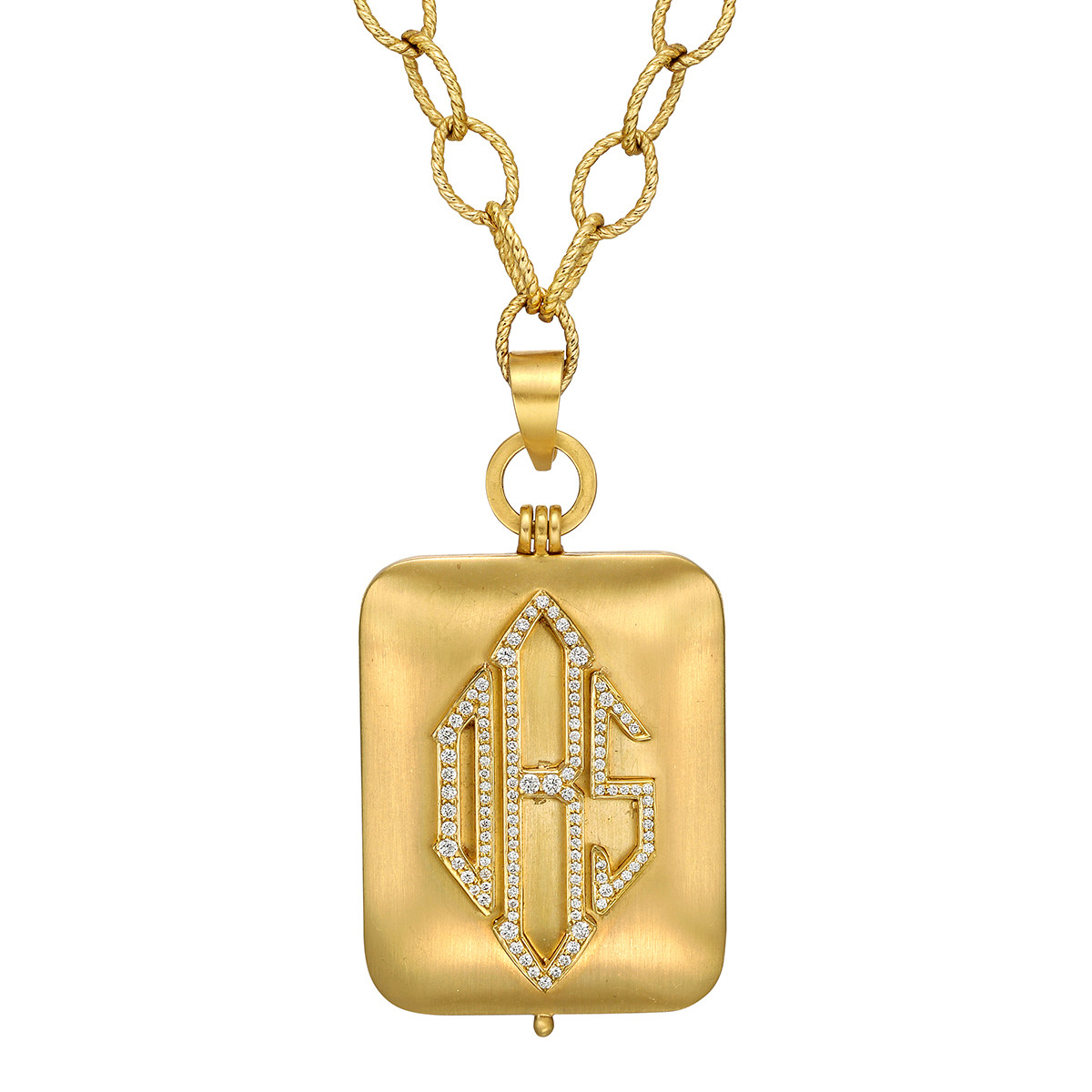 "18k Yellow Gold & Diamond ""DBS"" Monogram Pendant"