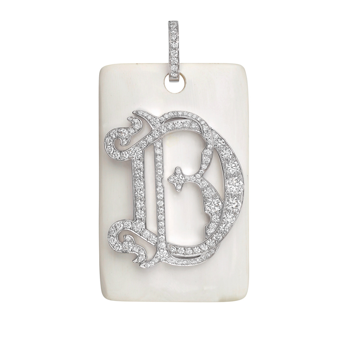 "Horn & Diamond ""DB"" Monogram Pendant"