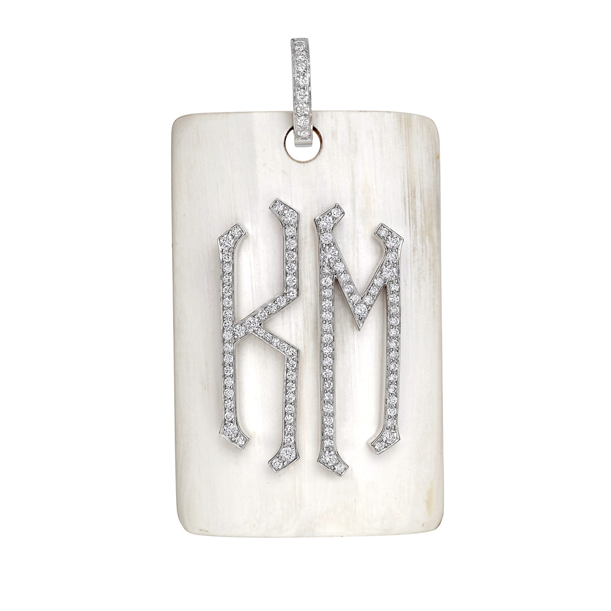 "Horn & Diamond ""KM"" Monogram Pendant"