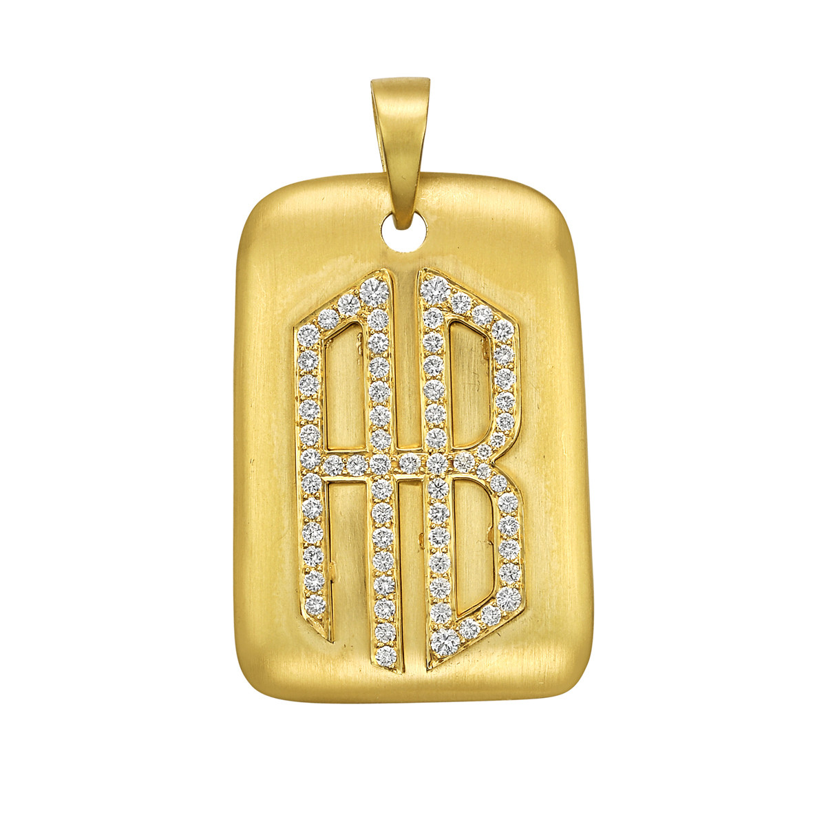 "18k Yellow Gold & Diamond ""AB"" Monogram Pendant"