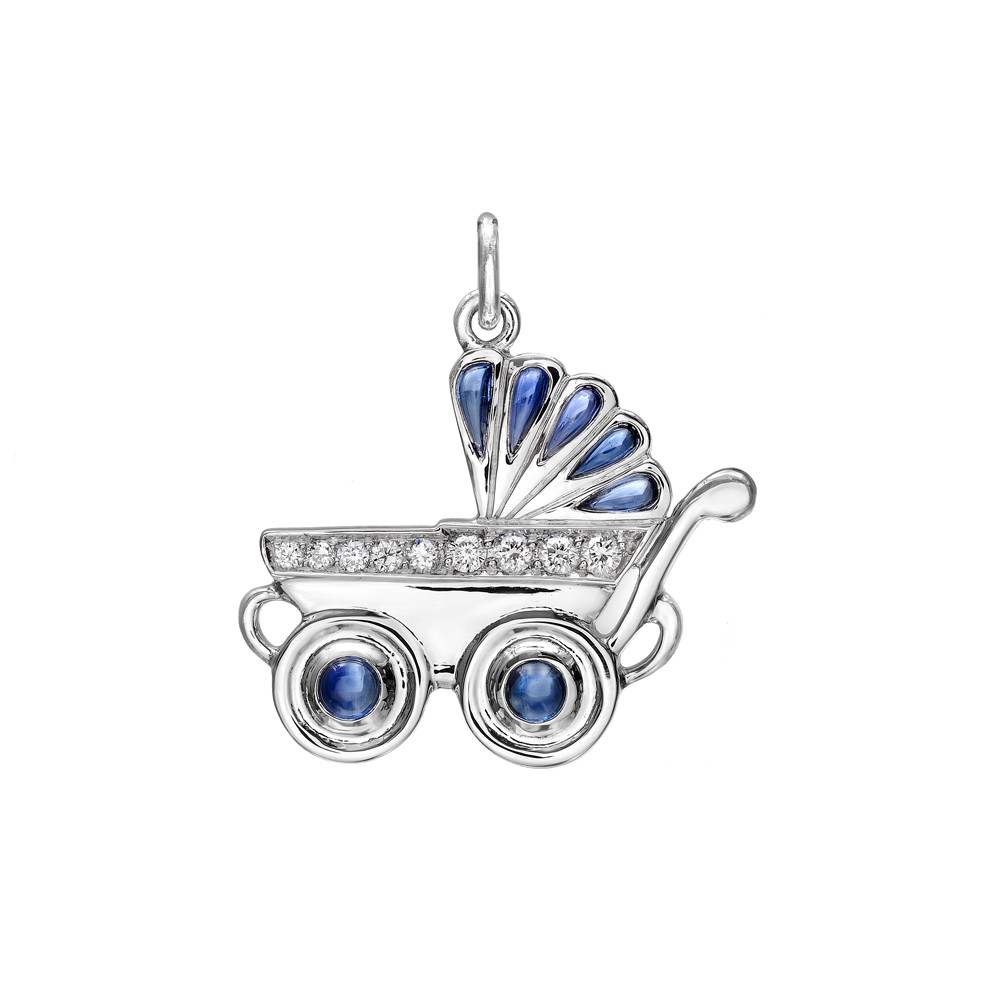 Sapphire & Diamond Boy's Baby Carriage Charm
