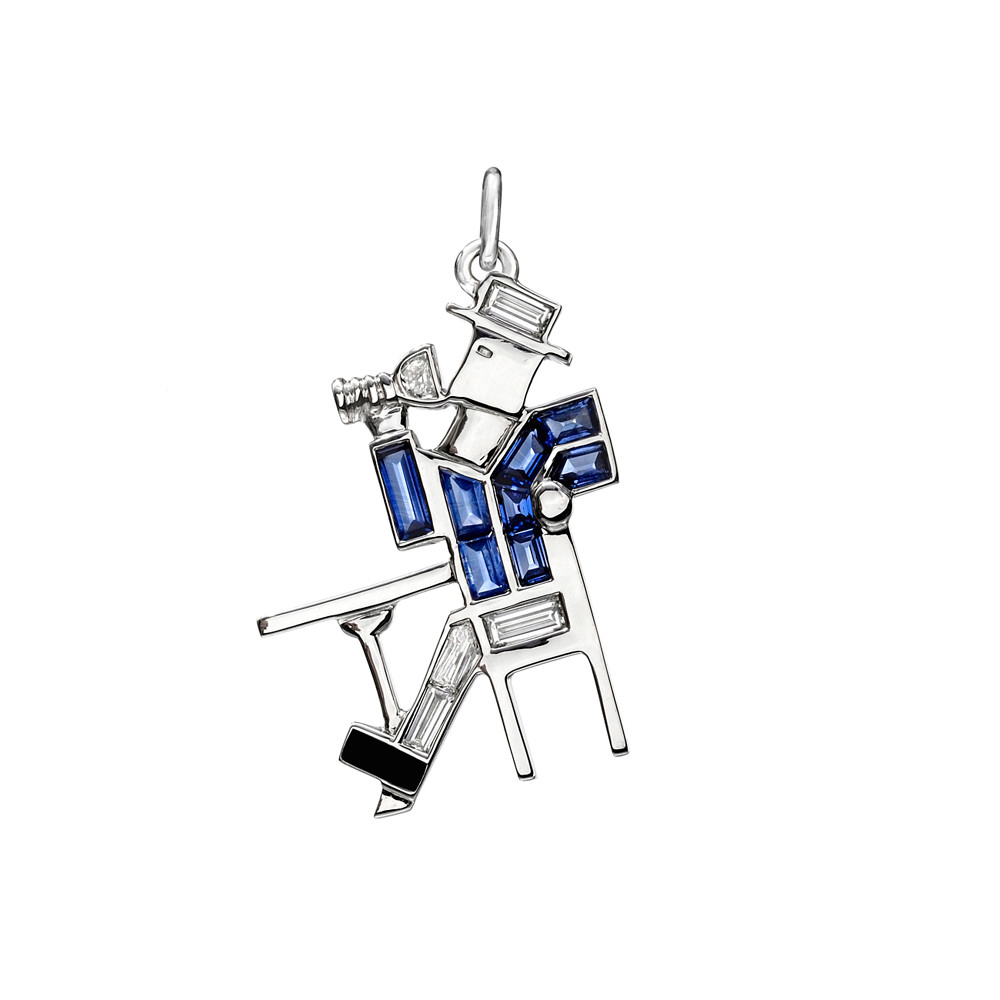 "Sapphire & Diamond ""Man at the Bar"" Charm"