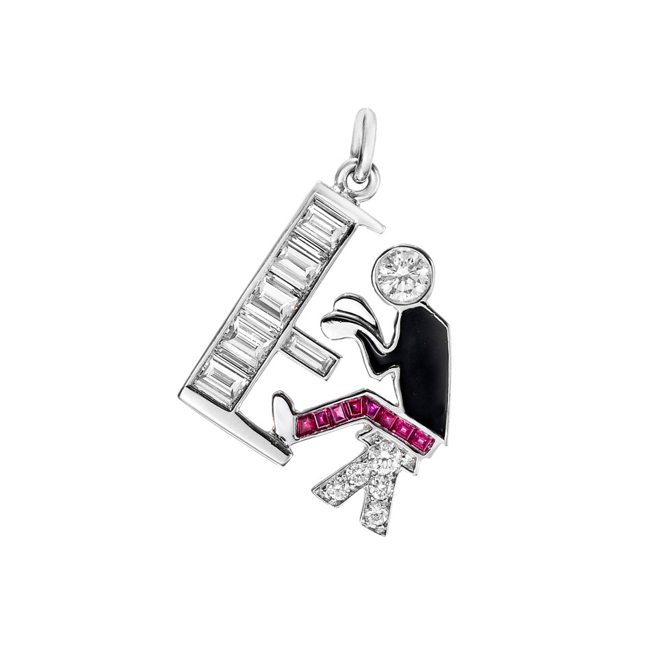 "Gem-Set ""Piano Man"" Charm"