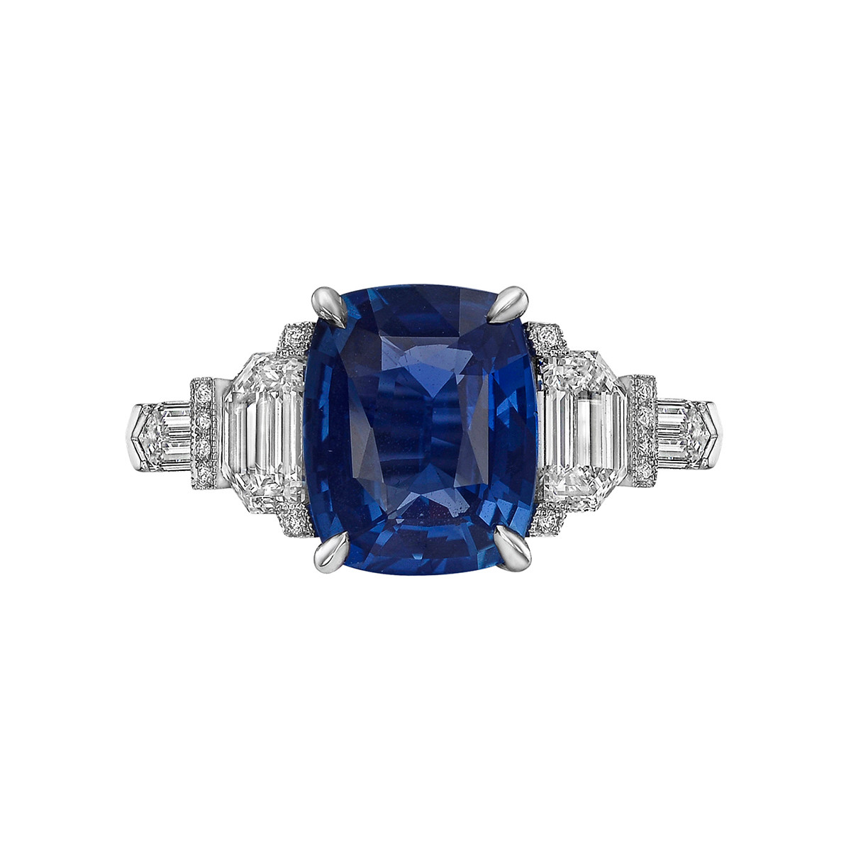 3.17ct Cushion-Cut Sapphire & Diamond Ring