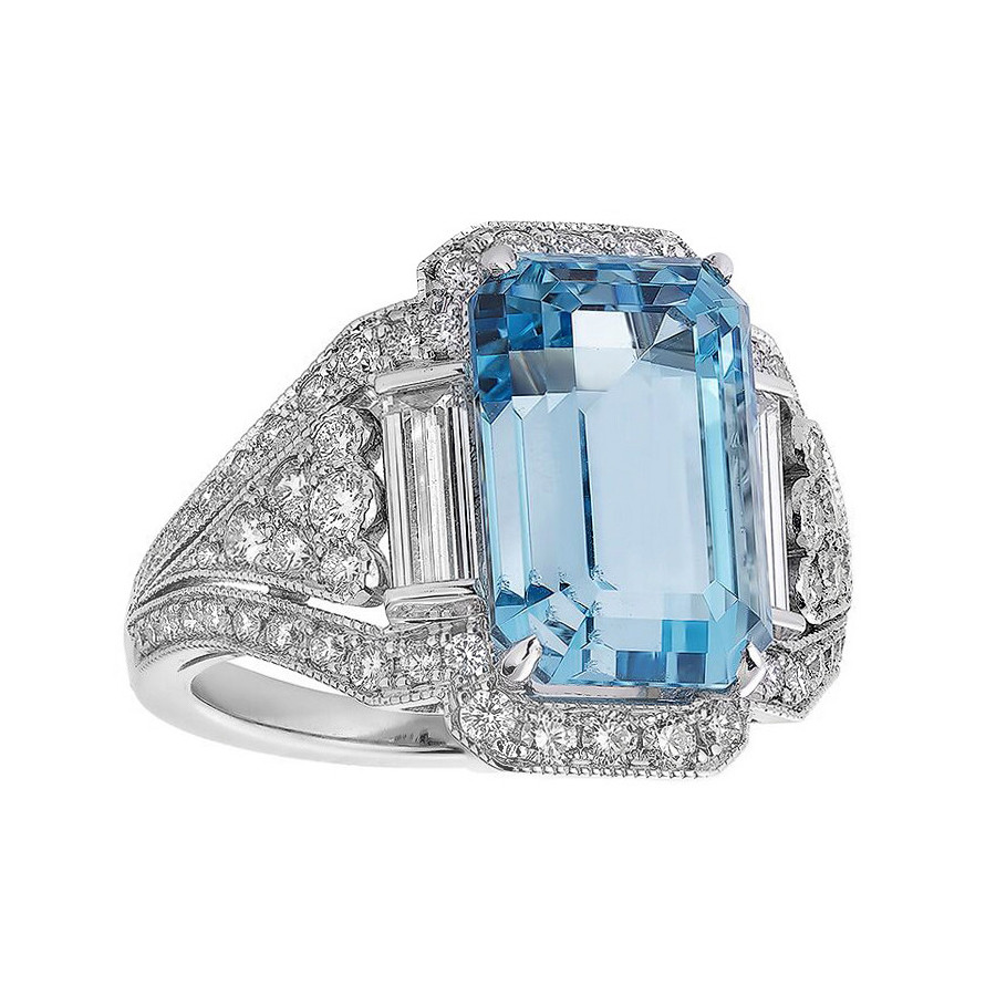 6.16ct Aquamarine & Diamond Cocktail Ring