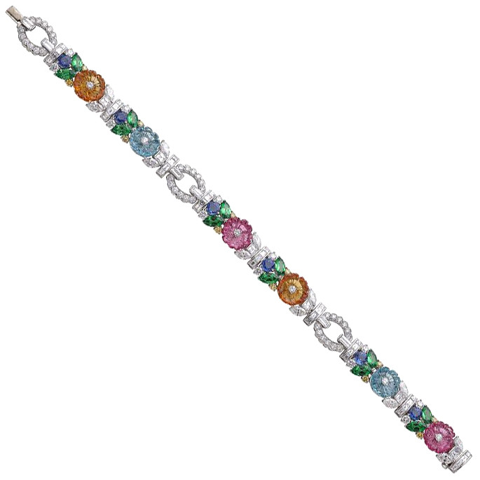 Multicolored Gemstone & Diamond Flower Bracelet