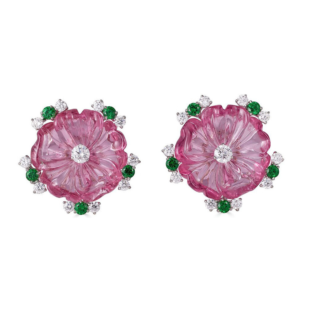 Carved Pink Tourmaline, Tsavorite, & Diamond Flower Earrings