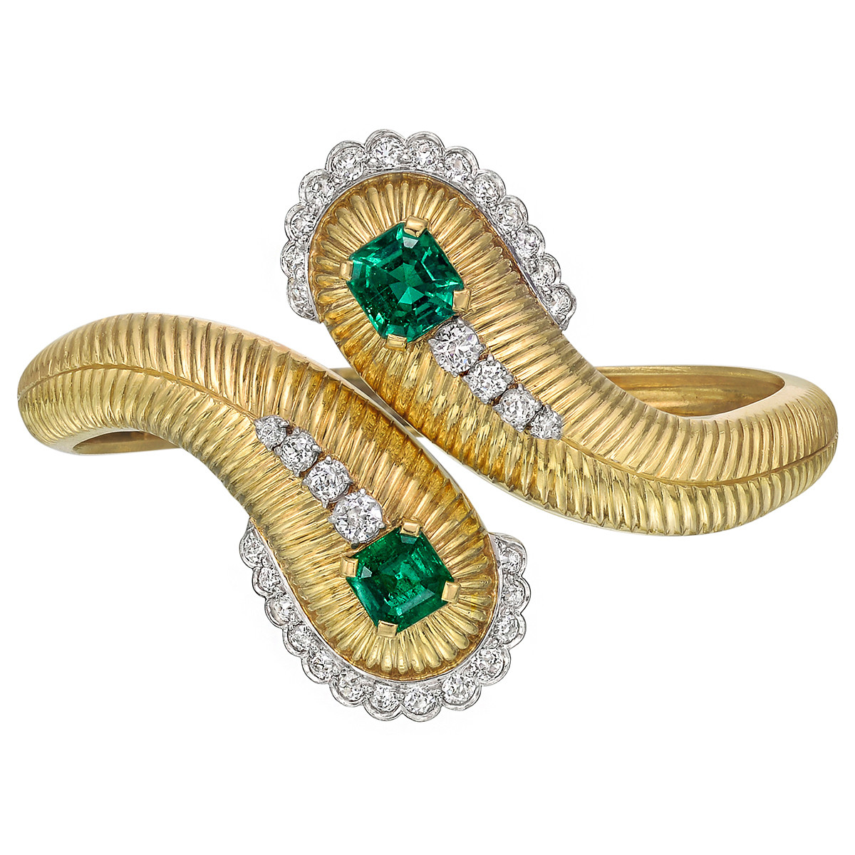 Emerald & Diamond Hinged Cuff Bracelet