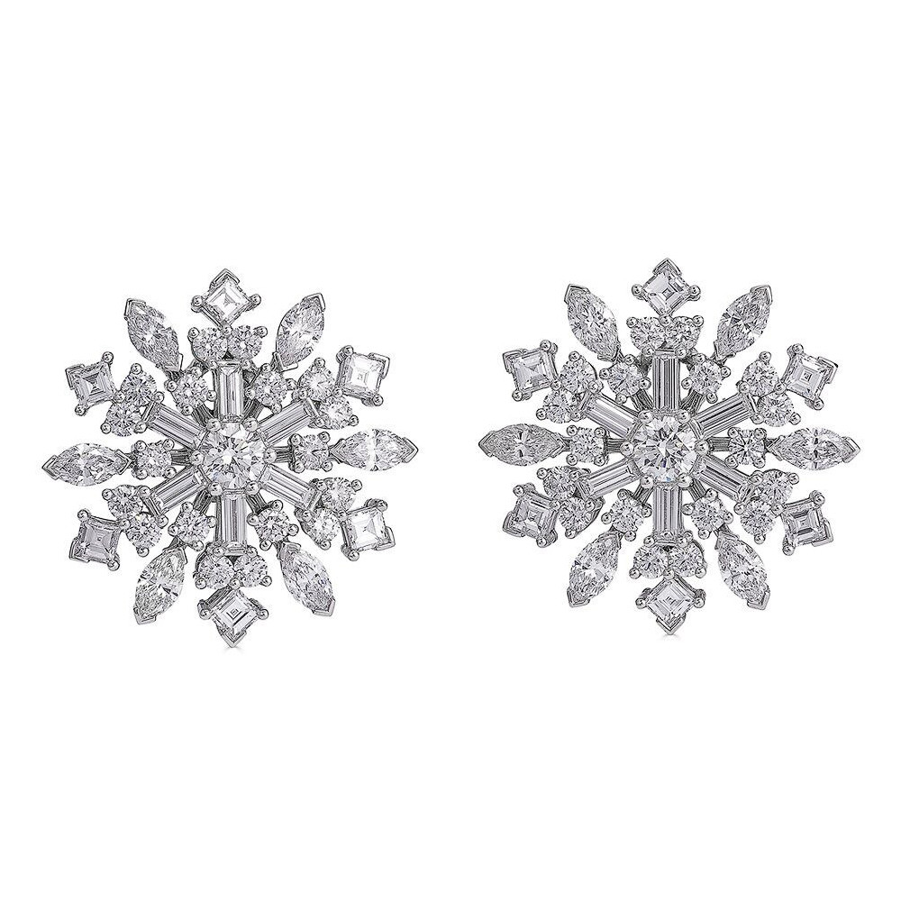 Platinum & Diamond Snowflake Earclips