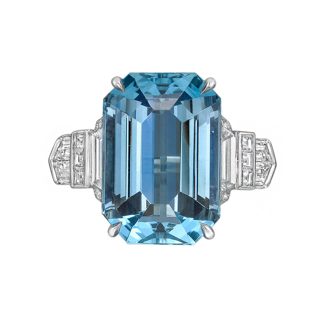 10.30ct Emerald-Cut Aquamarine & Diamond Ring