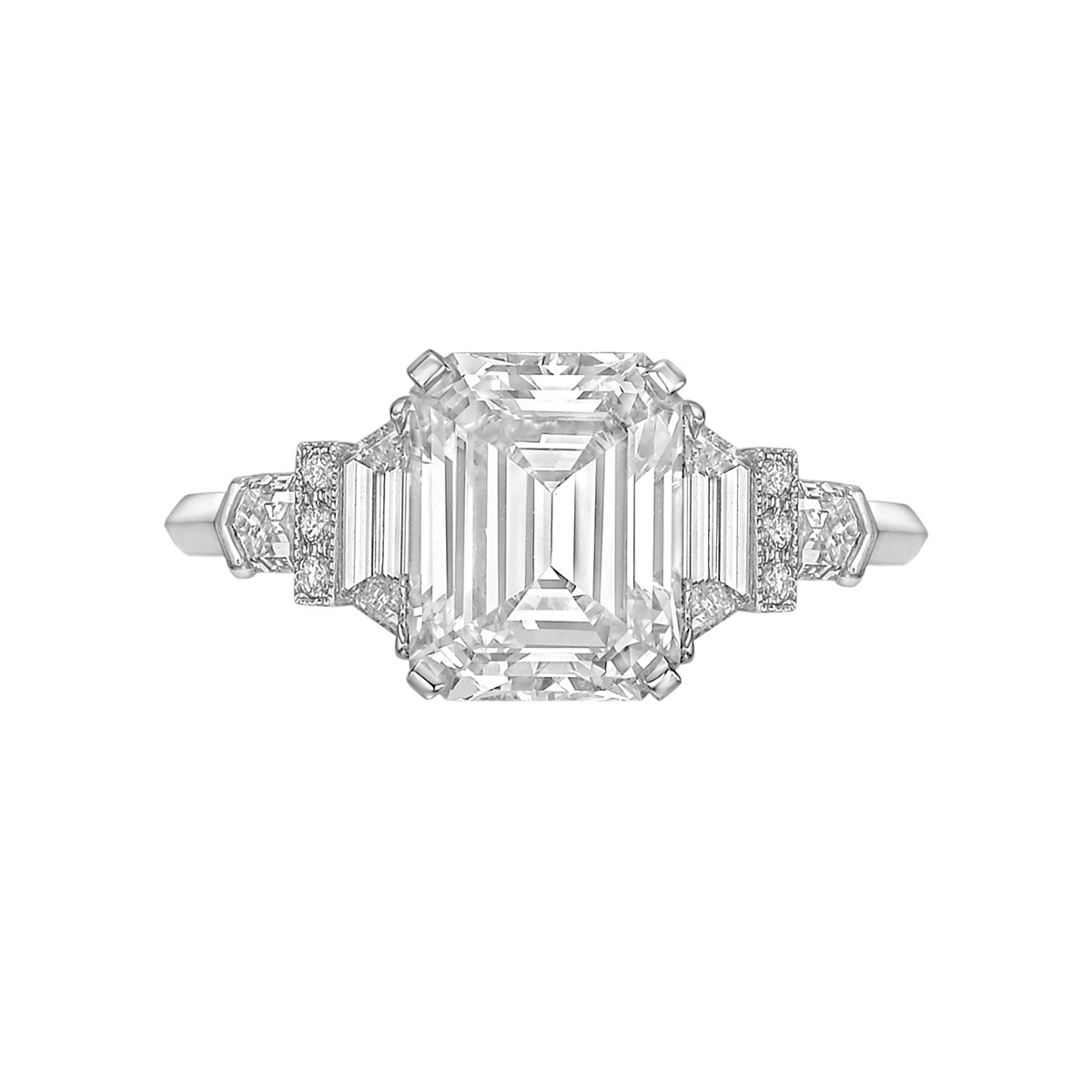 3.11ct Fine Colorless Emerald-Cut Diamond Ring
