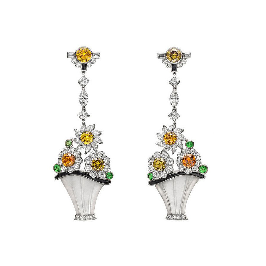 "Multicolored Diamond ""Flower Basket"" Earrings"