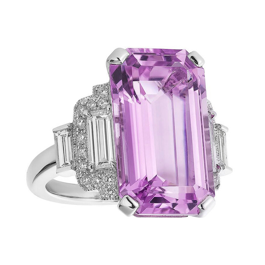 12.95ct Kunzite & Diamond Cocktail Ring
