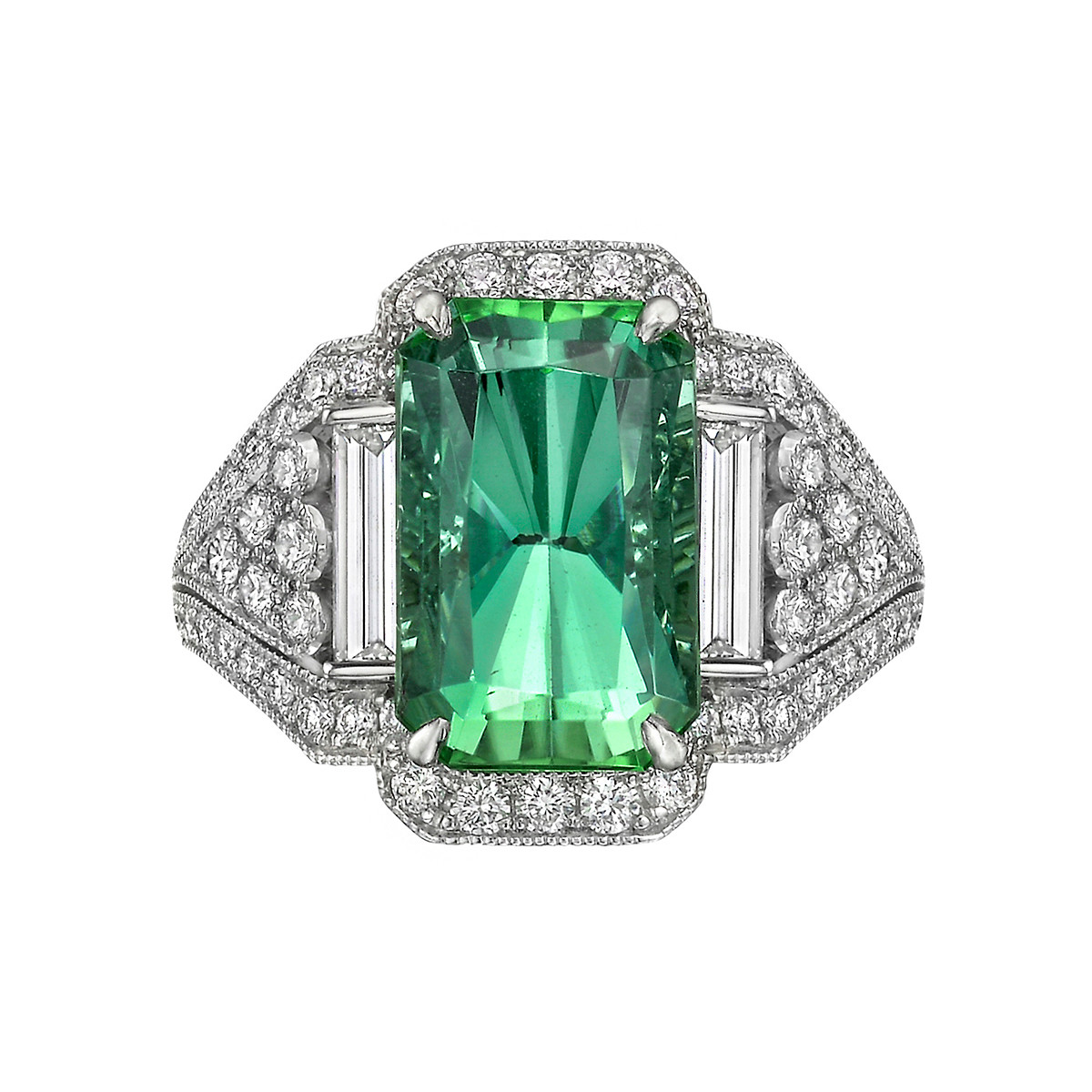 5.95 Carat Mint Tourmaline & Diamond Ring
