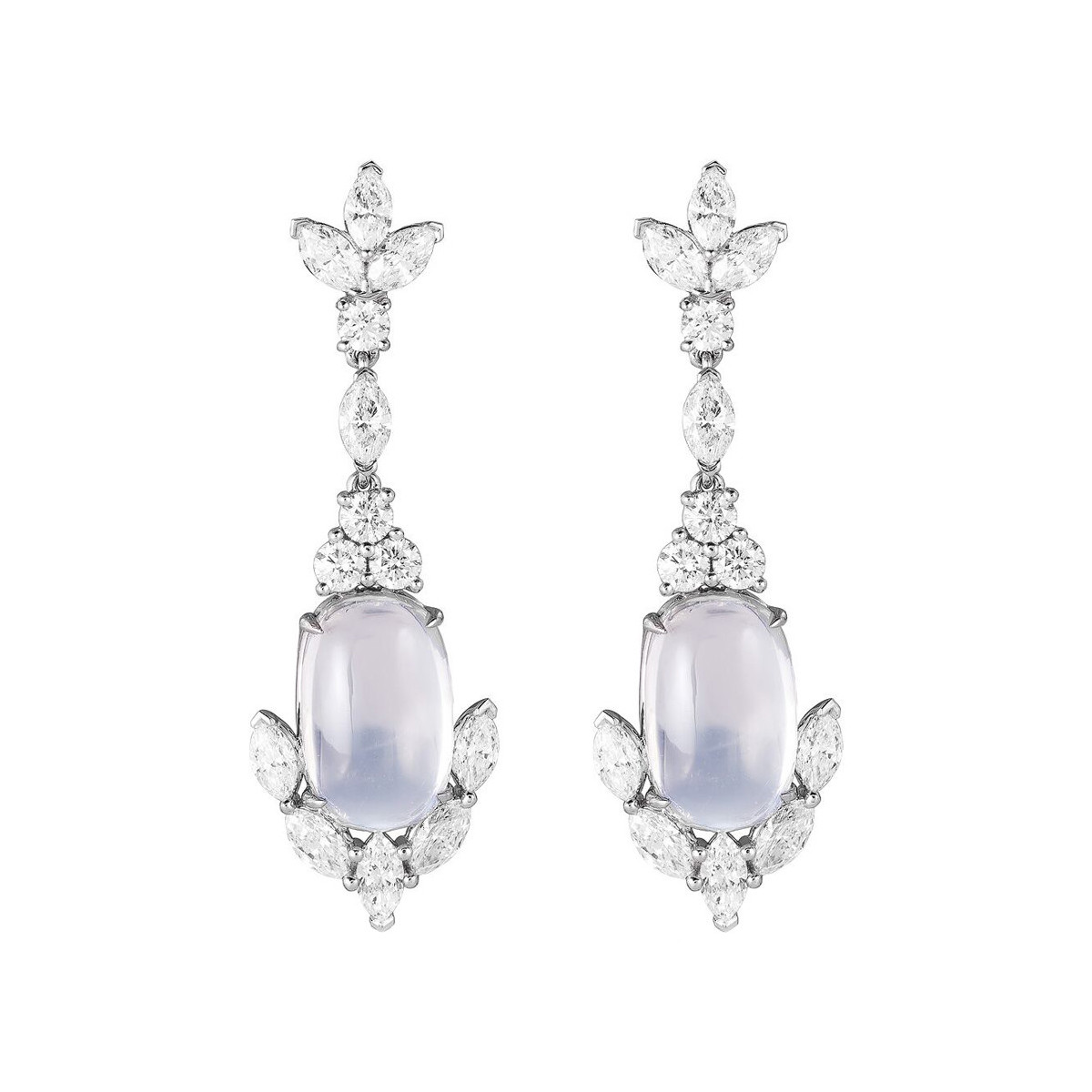 Moonstone & Diamond Pendant Earrings