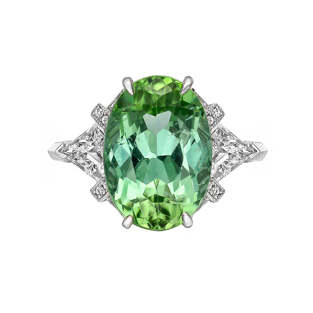 6.09ct Mint Tourmaline & Diamond Ring