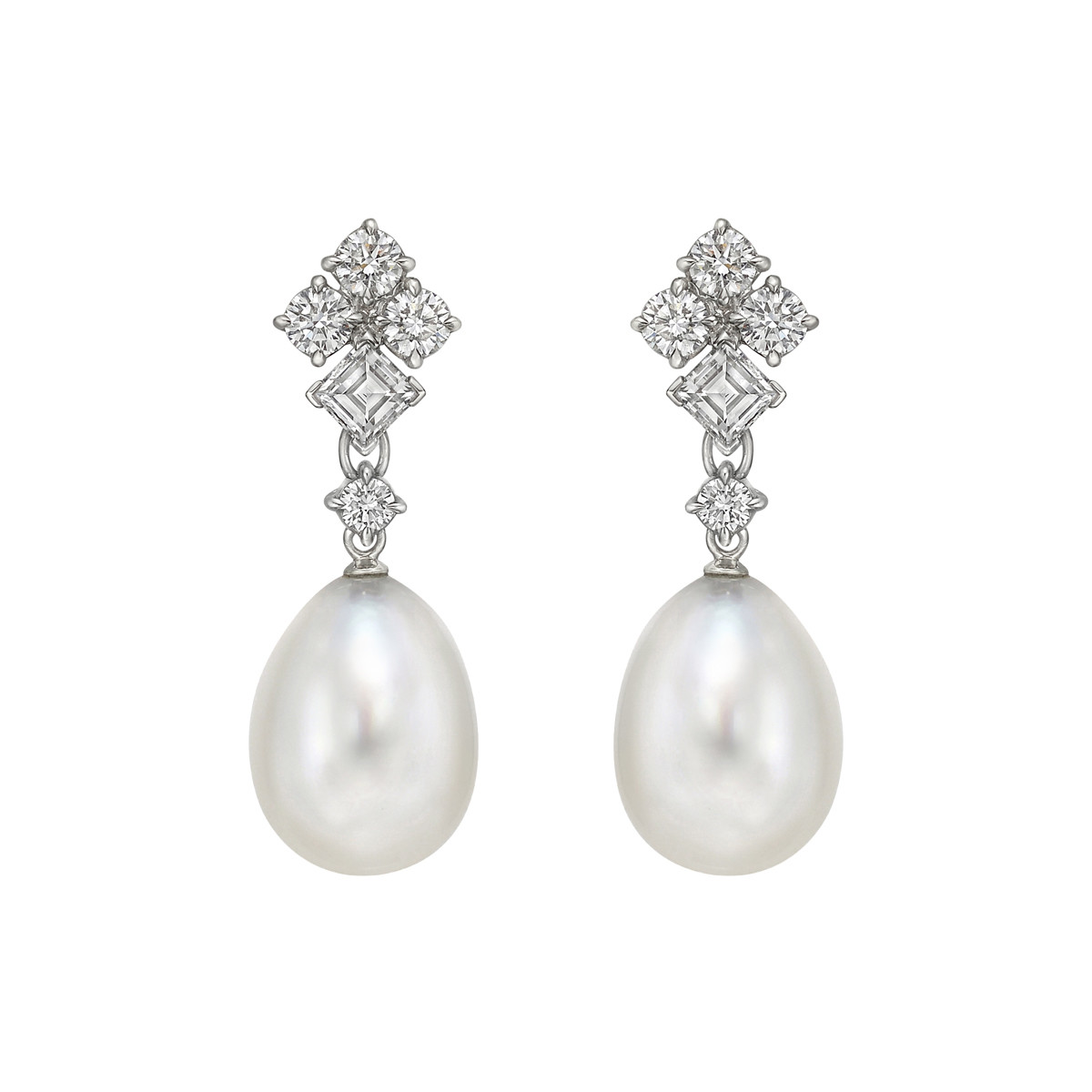 Pearl & Diamond Pendant Earrings