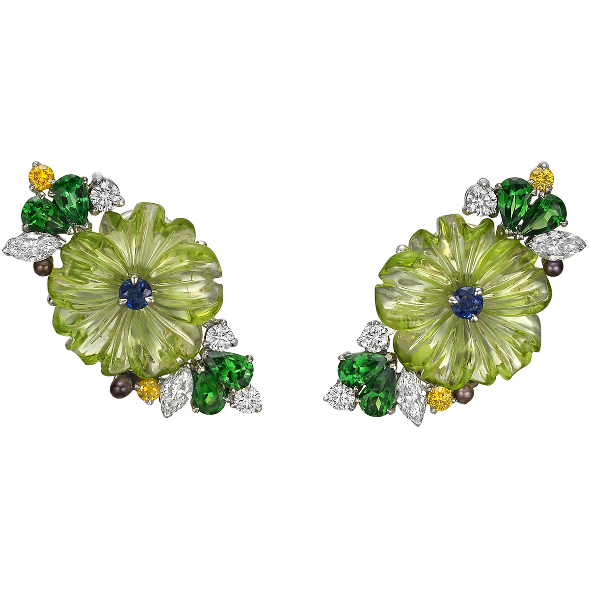 Peridot, Multicolored Diamond & Tsavorite Flower Earrings