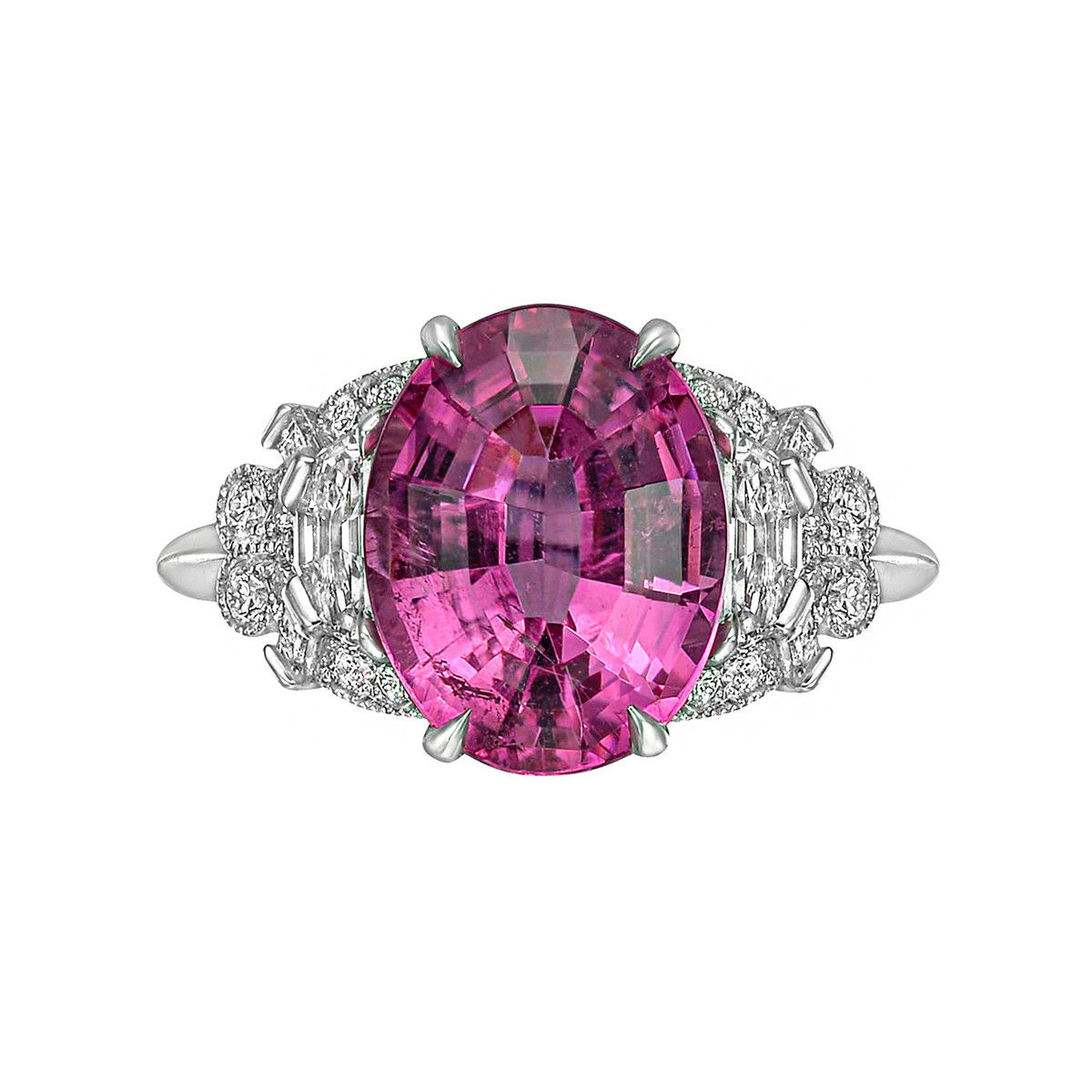 4.17ct Pink Tourmaline & Diamond Cocktail Ring