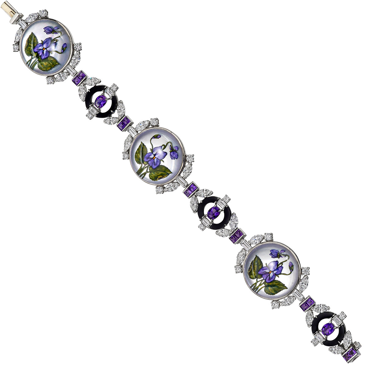 Rock Crystal Flower, Diamond & Amethyst Bracelet