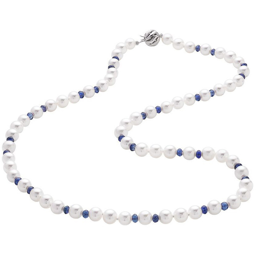 Cultured Pearl & Sapphire Bead Necklace
