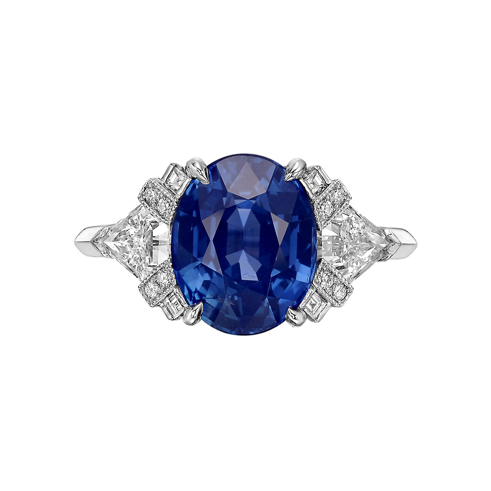 4.21 Carat Oval-Shaped Sapphire & Diamond Ring