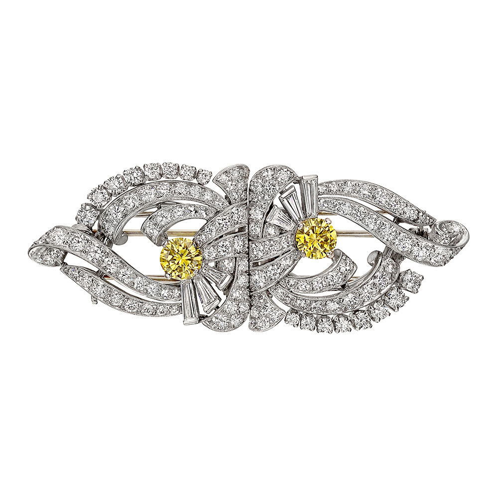 1950s White & Yellow Diamond Double Clip Brooch