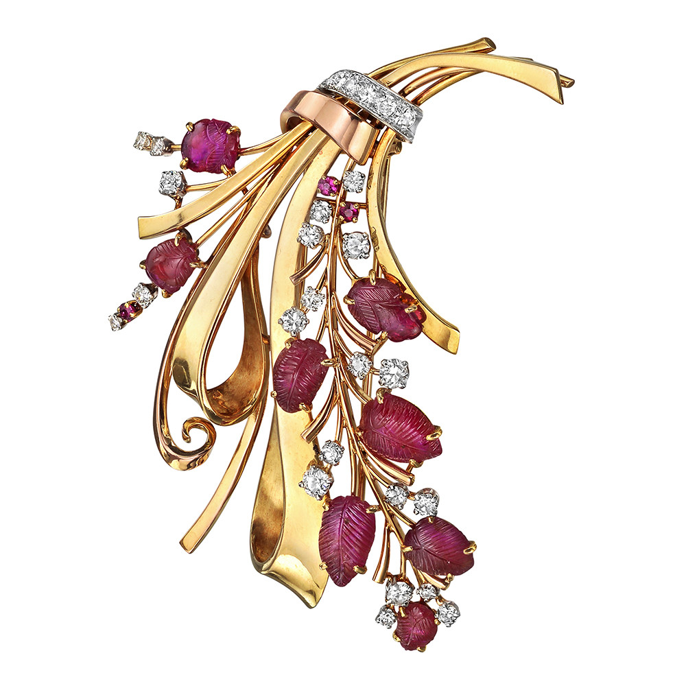 18k Gold, Ruby & Diamond Spray Brooch