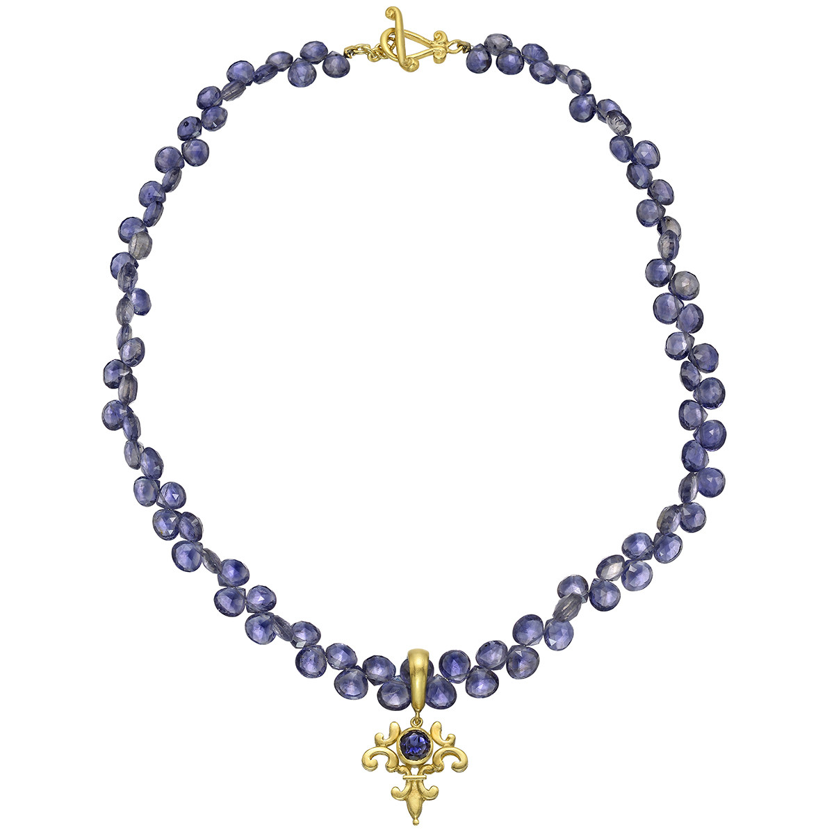 18k Yellow Gold & Iolite Bead Necklace