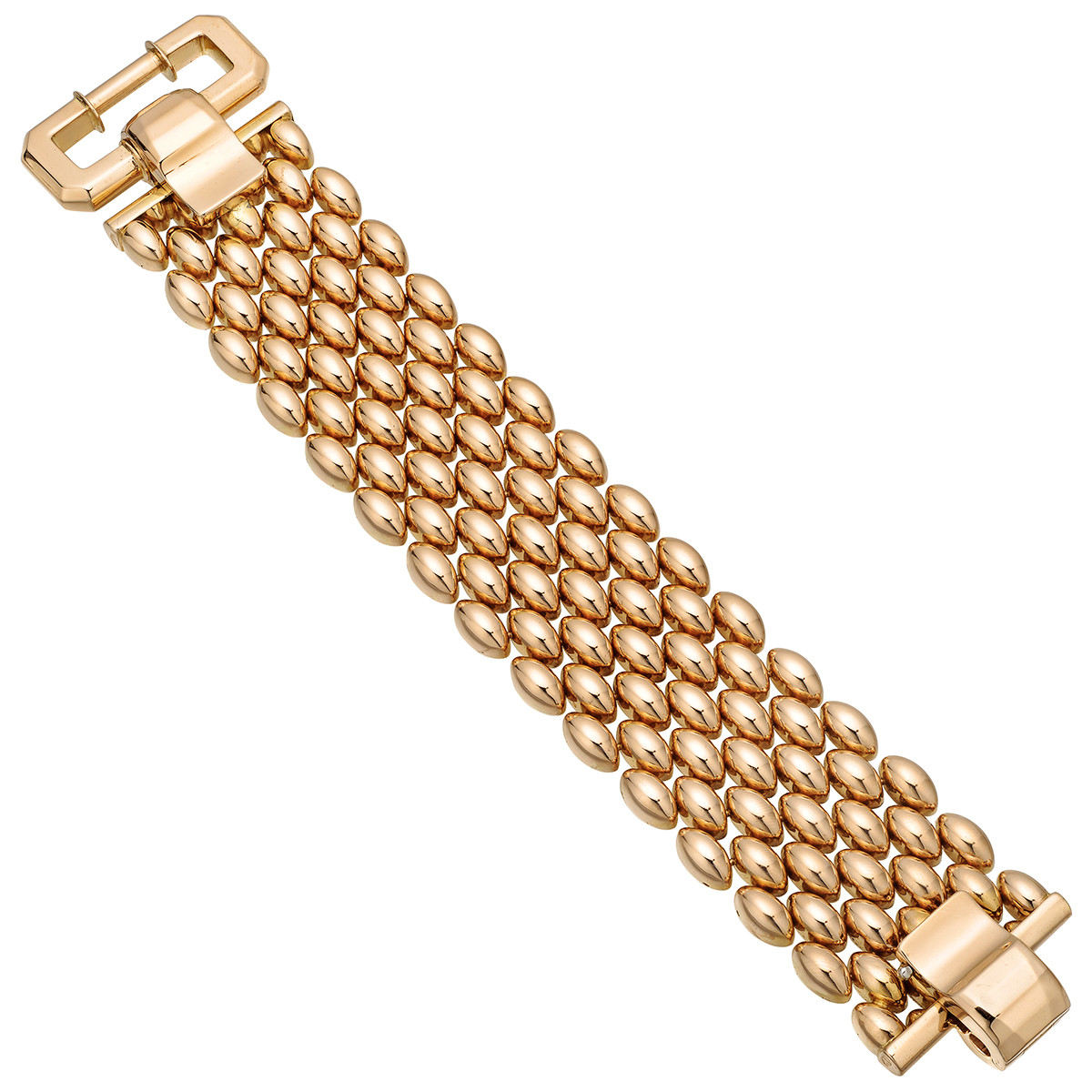 Retro 18k Yellow Gold Wide Link Bracelet