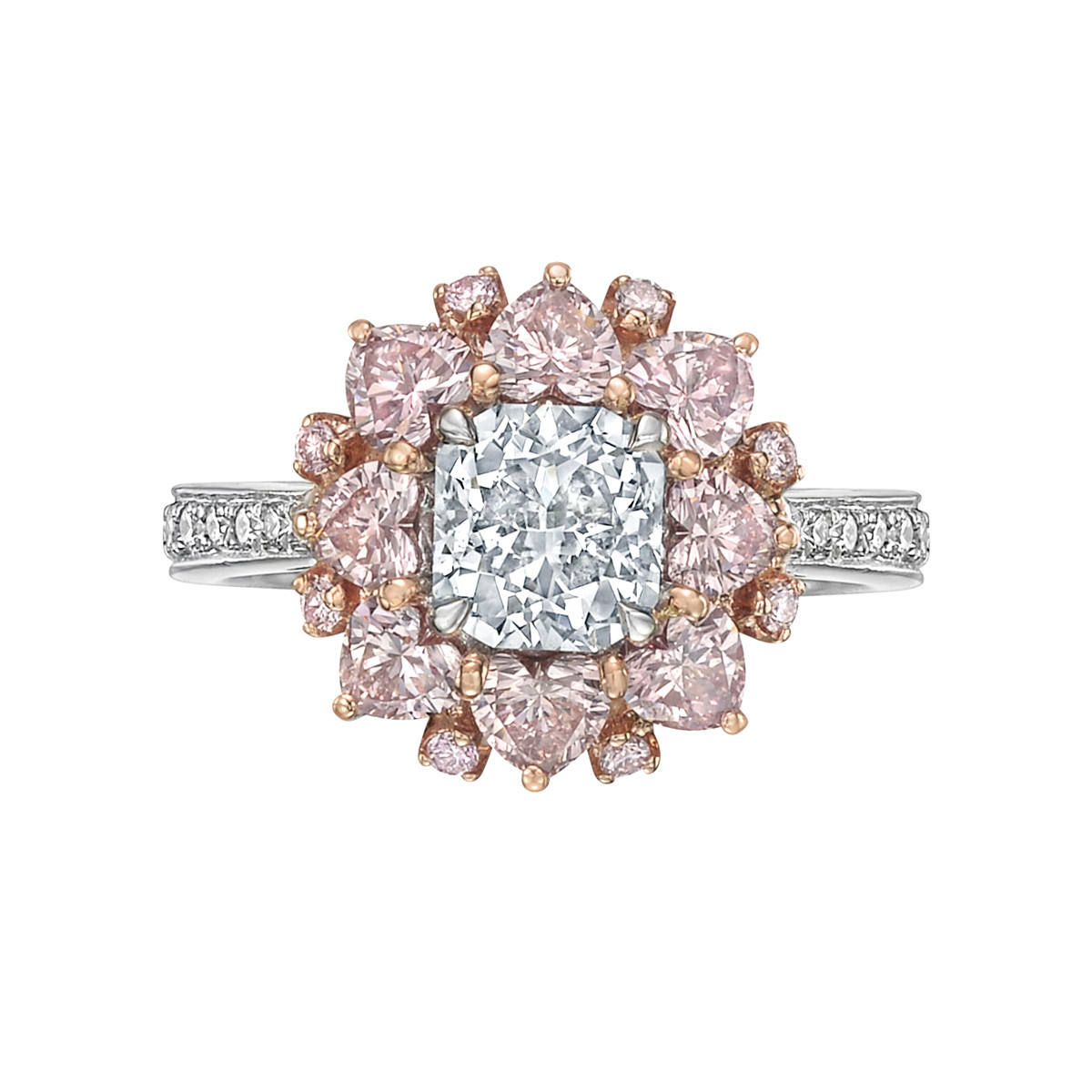 Very Light Blue & Pink Diamond Cluster Ring