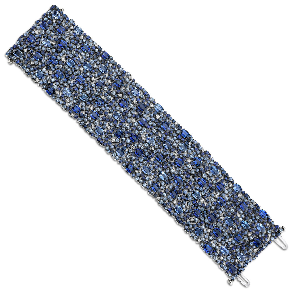 Multicolored Blue Sapphire & Diamond Wide Bracelet