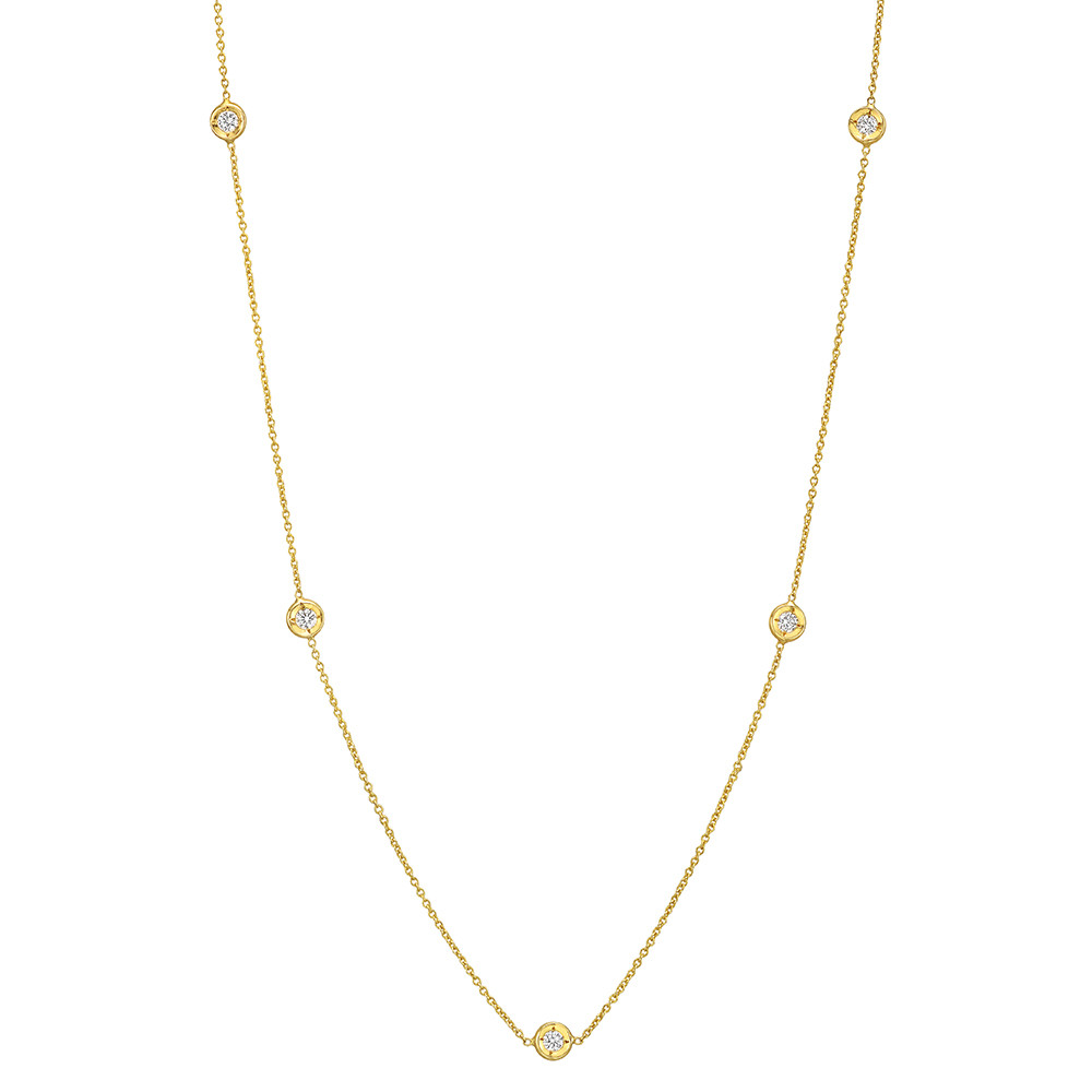 18k Yellow Gold & Five Diamond Chain Necklace