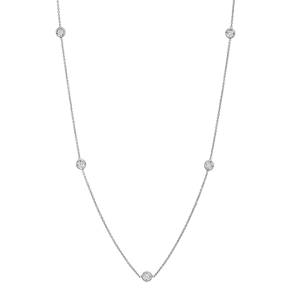 18k White Gold & Five Diamond Station Necklace