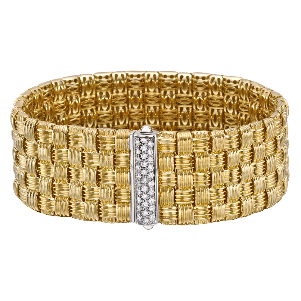 Asionata Five Row Woven Cuff Bracelet Mounted In 18k Yellow Gold With Pavé Diamond Clasp Set White The Diamonds Weighing Roximately
