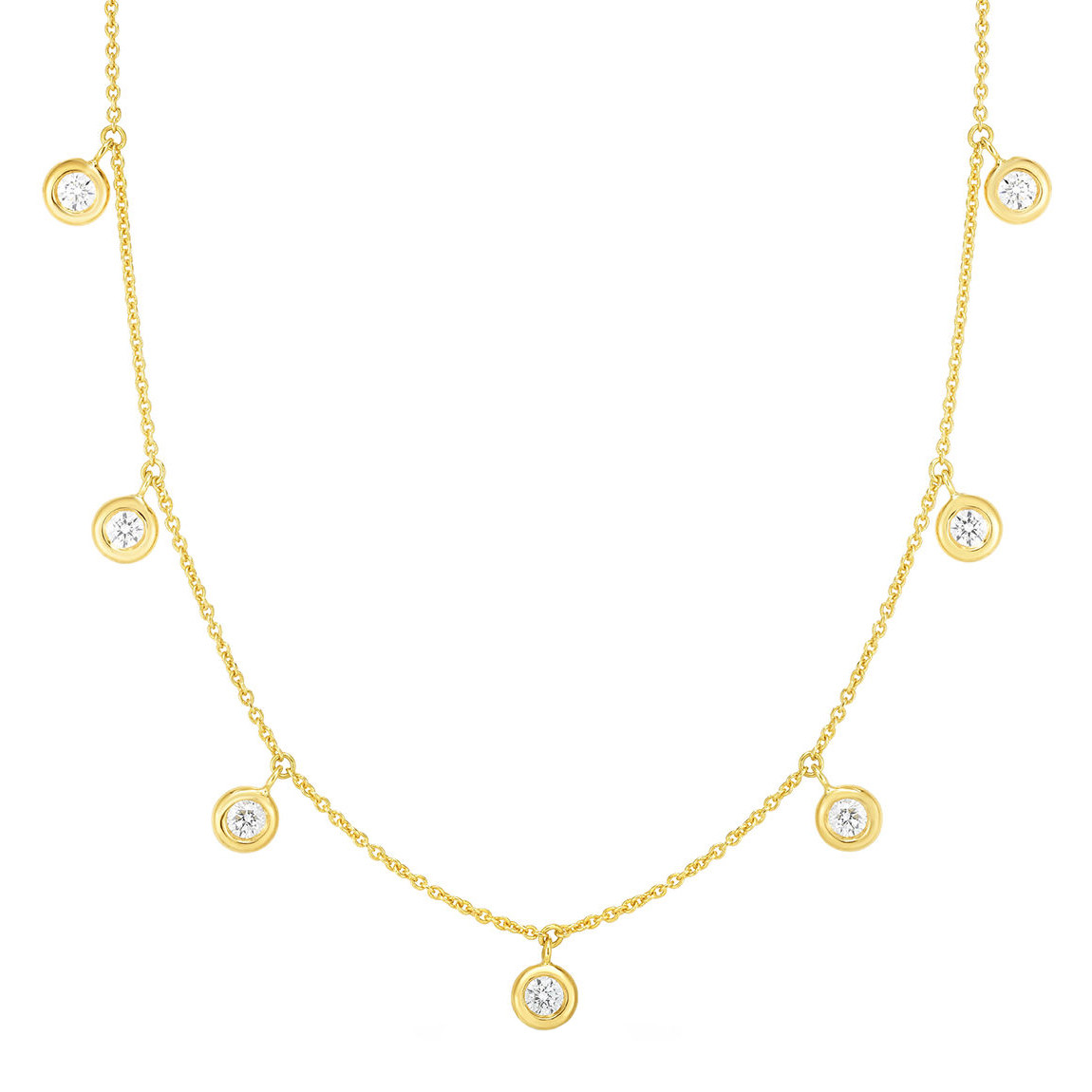 18k Yellow Gold & Seven Diamond Drop Chain Necklace