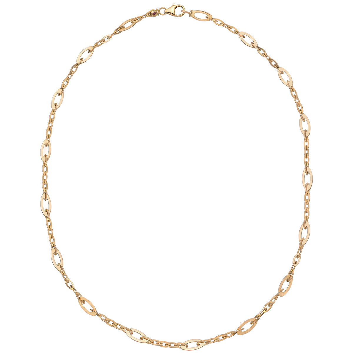 18k Pink Gold Oval Link Necklace