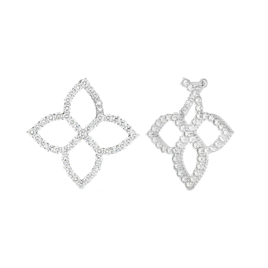"18k White Gold & Diamond Medium ""Princess Flower"" Earrings"